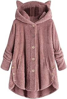 Hoodies Outerwear Sweatshirt Coat Women Plus Size Button Plush Tops Hooded Loose Cardigan Wool Coat Winter Jacket