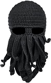 Uther Funny Unisex Handmade Knit Winter Warm Ski Caps Octopus Windproof  Mask Hat ab0176cb64a