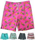 INGEAR Little Boys Quick Dry Beach Board Shorts Swim Trunk Swimsuit Beach Shorts with Mesh Lining (Pink Pineapple, 8/10)