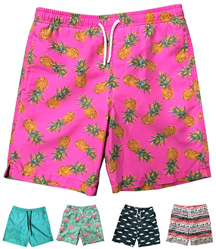 INGEAR Little Boys Quick Dry Beach Board Shorts Swim Trunk Swimsuit Beach Shorts with Mesh Lining (Pink Pineapple, 4/5)