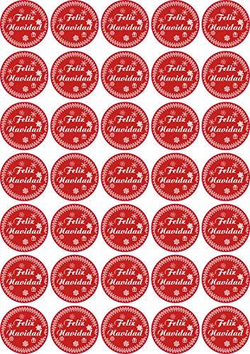 Jintora Feliz Navidad - Pegatinas de Navidad para 35 Piezas - Vintage Rojo - Etiquetas - Pegatinas - Calendario de...