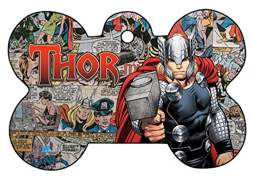 O2 Team Avengers Iron Man Spider-Man Thor Captain America Collage Comic Art Design Custom Logo Dog Pet Cat ID Tag Bone Shape Personalized Key Ring (Thor)