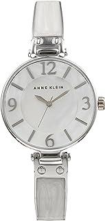 Anne Klein AK/2211WTSV Women's Marbleized Bangle Watch, Silver-Tone/White