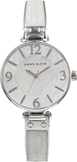 Anne Klein Women's AK/2211WTSV Silver-Tone and White Marbleized Bangle Watch