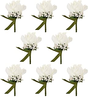 JaosWish 8PCS Flower Men Boutonniere Handmade Silk Men Corsage for Groom Wedding Party Suits
