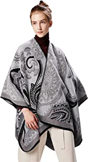 FEOYA Women Cardigan Poncho Cape Elegant Cashmere Shawl Wrap Warm Large Blanket Scarf Winter Printed Open Front Sweater