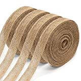 4 Rolls of Natural Burlap Fabric with Burlap Ribbon for Christmas Tree Gift Wrapping Wedding Event Party Home Bows Crafts Decoration, 11 Yards Long 0.8 inch Wide Each Roll