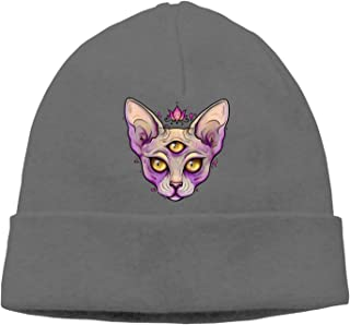 Funny Halloween Cat Knit Hat Warm Daily Slouchy Skull Beanies for Women & Men & Kids