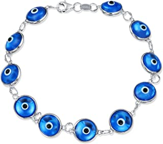 Protection Good Luck Turkish Evil Eye Glass Bead Bracelet For Women For Teen 925 Sterling Silver More Colors