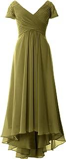 MACloth Women Cap Sleeves Formal Evening Gown V Neck Hi-Lo Mother of Bride Dress
