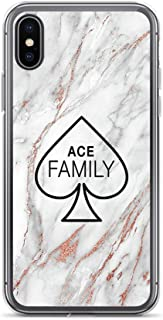 joyganzan Ace Family, Rose Gold Marble Case Cover Compatible for iPhone (X/XS)
