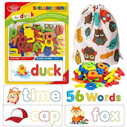 HIRAKOKOR Matching Letter Game, Spelling Letter Words Board Games for Kids - See and Spell Learning Game Educational Learning Toys for Preschool Kindergarten Kids Boys Girls 3 4 5 6 7 8 Years Old