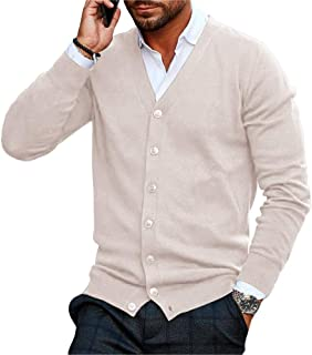 CYJ-shiba Mens Casual Outdoor Cable Knit Cardigan Shawl Collar Button Down Sweaters