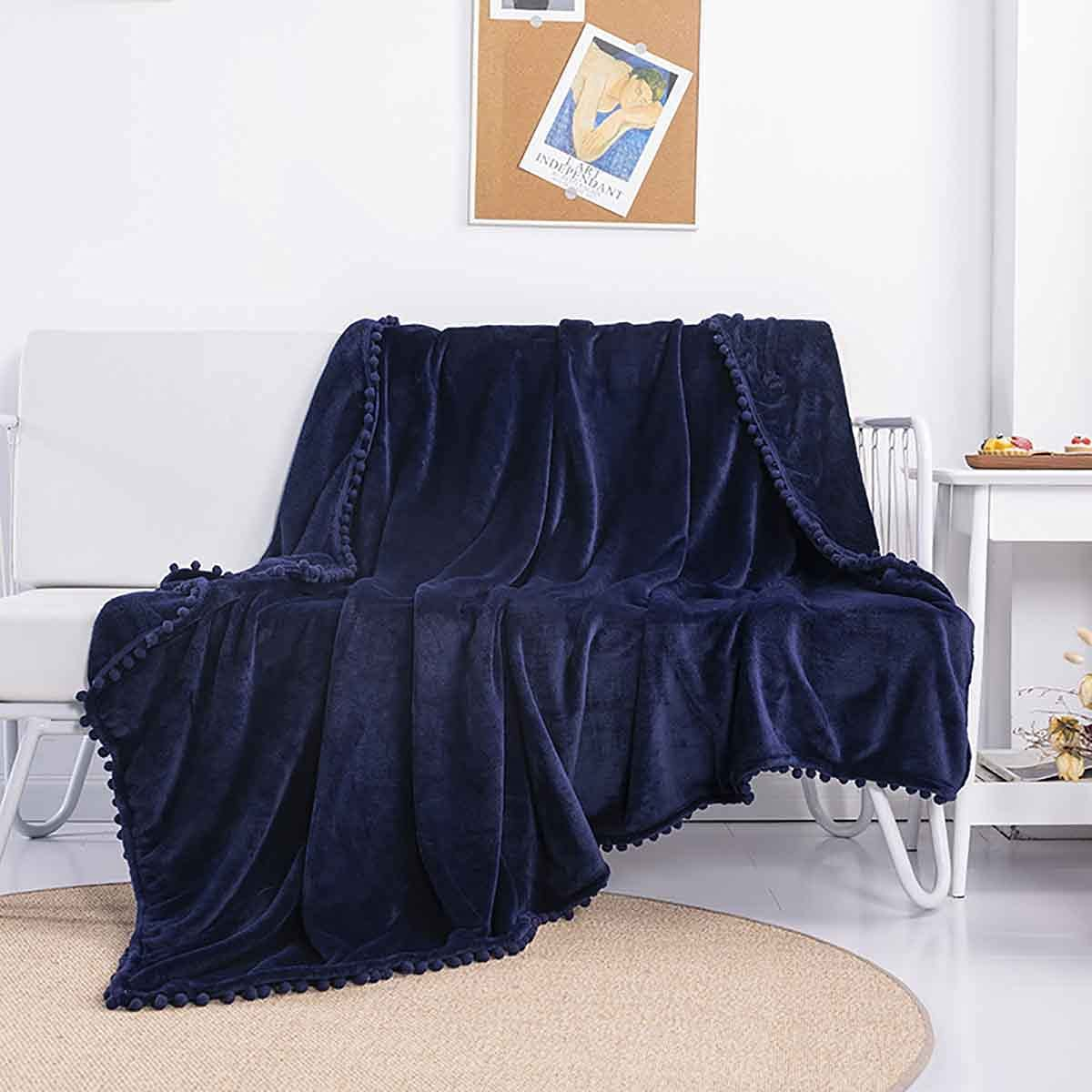 Sooupowly Pom Blanket Throw Twin Coz Max 85% OFF Lightweight Fringe Size Max 45% OFF