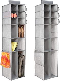mDesign Juego de 2 organizadores de armarios de tela – Perfecto organizador colgante para bolsos o zapatos – Estante colgante para el pasillo o el dormitorio con 16 bolsillos – gris