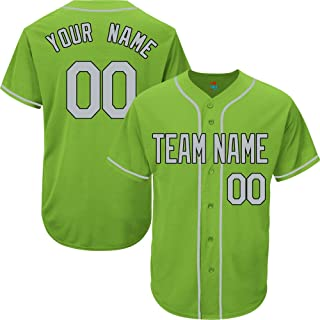 Light Green Custom Baseball Jersey for Men Women Youth Replica Embroidered Team Name & Numbers S-5XL Gray Black