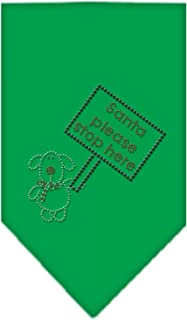 Mirage Pet Products Santa Please Stop Here Rhinestone Bandana, Small, Emerald Green