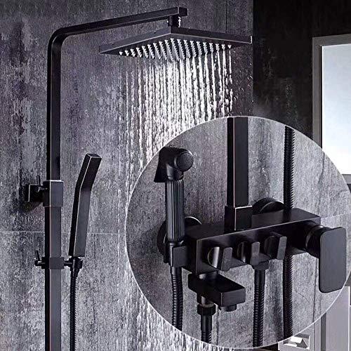 IREANJ Conjuntos de bañera cobre negro antiguo conjunto de ducha Booster Lift cabeza de ducha mano grifo europeo mezclado agua ducha grifo delicado baño