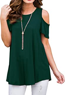 42a43d4d PrinStory Women's Short Sleeve Casual Cold Shoulder Tunic Tops Loose Blouse  Shirts
