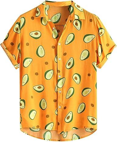 Polos Manga Corta Hombre Manga Corta Básico Polo con Botones Camisa Hawaiana Hombre Camiseta Fruta Floral Estampado Formales Tops