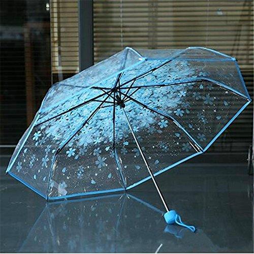 Monbedos Paraguas romántico de cerezo transparente paraguas resistente al viento plegable paraguas para mujeres y niñas pequeñas azul azul