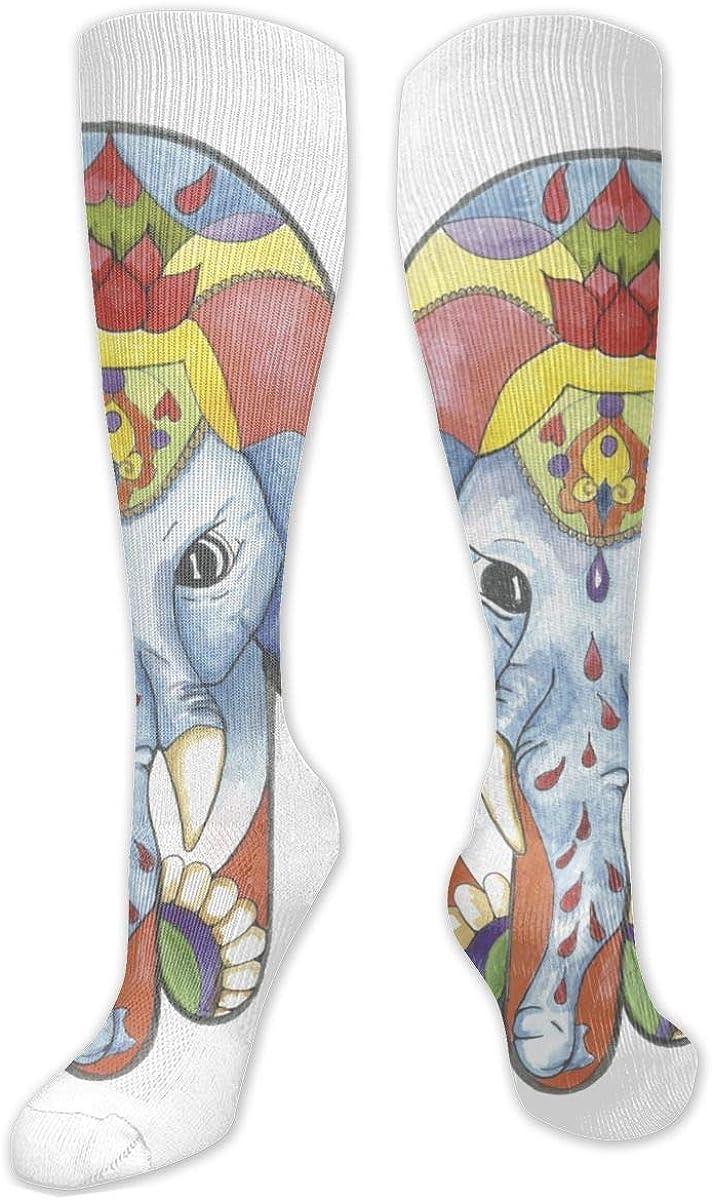 Elephant Hamsa Knee High Socks Leg Warmer Dresses Long Boot Stockings For Womens Cosplay Daily Wear