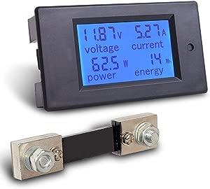 MICTUNING Digital Multimeter  6 5-100V 0-100A LCD Amperage Power Energy Meter Volt Amp Testing Gauge Monitor LCD Blue Backlight Digital Display with 100A 75mV External Shunt