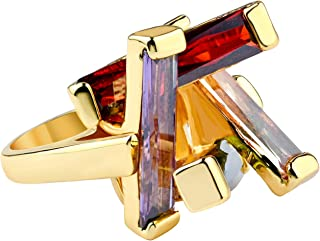 MOONSTONE Women's Fashion Ring Elegant Rectangular Overlapping Multi-Colored Crystal