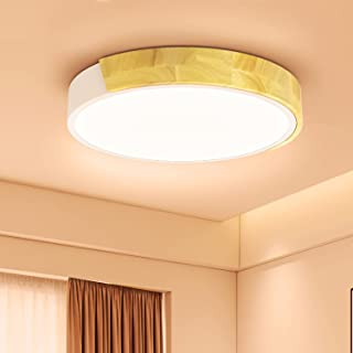 Kambo Plafonnier Led 24W, Blanc Chaud 3000K Lampe Plafond Led 2400LM, Luminaires Intérieur Plafonnier Led Fer et Chêne, Pl...