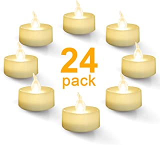 Homemory Warm White Battery LED Tea Lights, Set of 24 Flameless Flickering Tealight Candle, Electric Fake Candle for Votive, Wedding, Party, Table, Dining Room, Gift