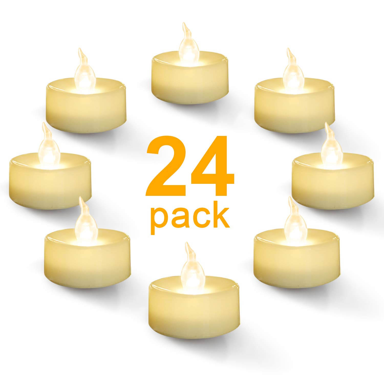 Homemory Warm White Battery Led Tea Lights  Set Of 24