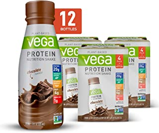 Vega Protein Shakes Ready to Drink, Chocolate - Plant Based Vegan Nutrition Shake with Veggies, Greens, Vitamins & Mineral...