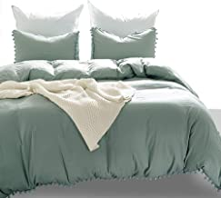 Luxton Pom Pom Duvet Cover Set, 3 Piece Pompoms Ball Fringe Quilt Cover Set 1 Comforter Cover 2 Pillowcases (Sage Green, King Size)