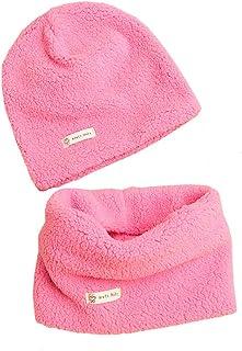 Boomly Bebé Sombrero de Beanie + Bufanda Calentador de cuello Otoño Invierno Color sólido Sombrero de punto Bufanda de tub...