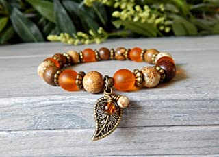 Autumn Fall Fashion Orange Leaf Charm Jasper Beaded Bracelet