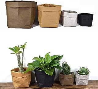 Lesirit Washable Storage Basket Kraft Paper Bag Reusable Storage Bins Plants Organizer Cover for Food, Fruit, Toys, Laundry (Yellow, L)