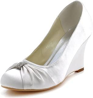 ElegantPark Women High Heel Pumps Closed Toe Rhinestones Satin Evening Prom Wedding Wedges