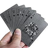 waterfaill Cool Black Matte Spielkarten, Black Plastic Poker Karten, Waterproof Poker -