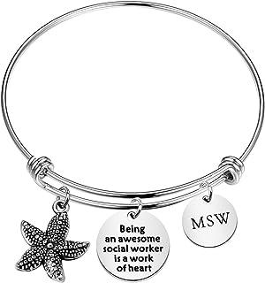 Master of Social Work Masters degree MSW Graduation Silver Bracelet Silver Jewelry Sale Social Worker Professional Jewelry LSW