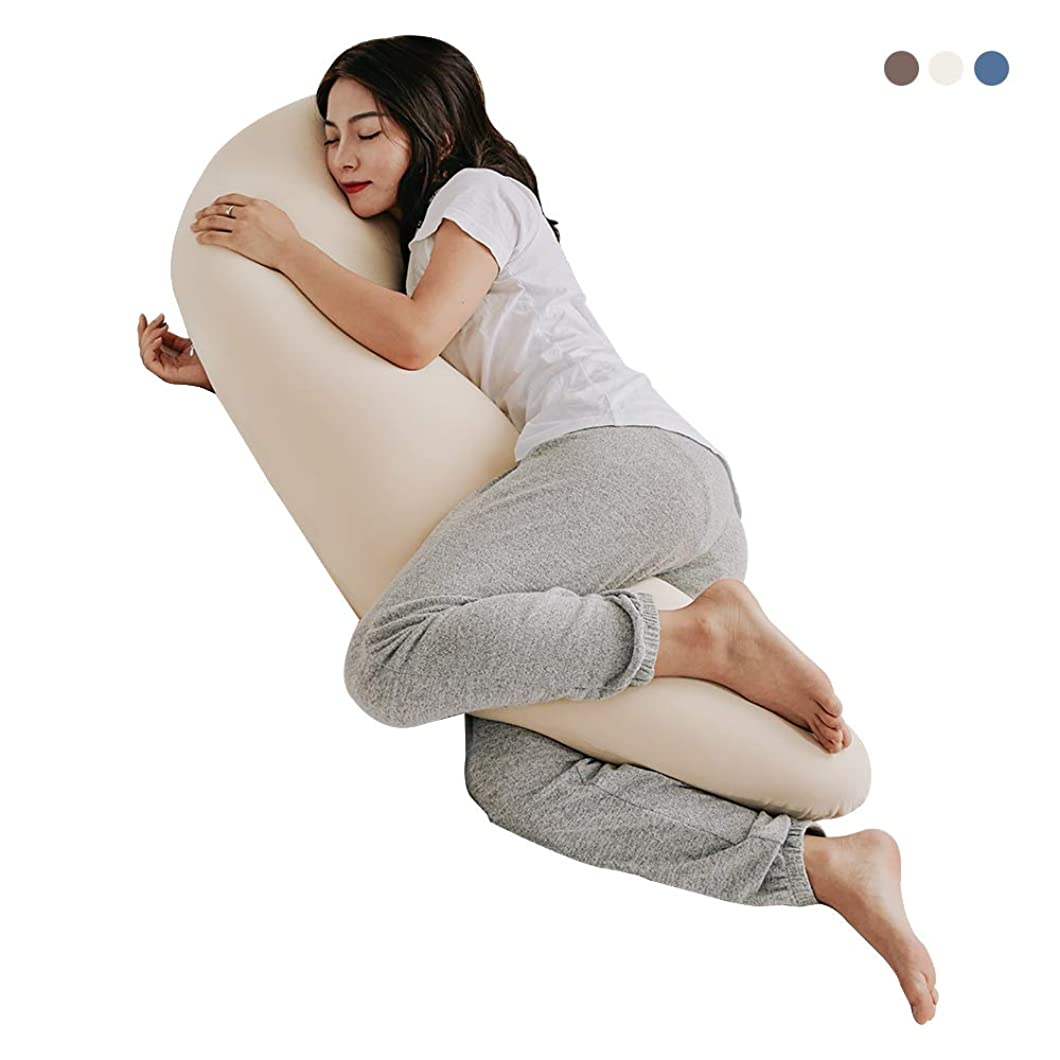 ずらすアーカイブ電気陽性タツノオトシゴ型 気持ちいい 抱き枕 綿100%カバー付き 柔らかい 7型 本体 中身 マイクロビーズ充填 レディースサイズ (標準-120X50X20cm, ベージュ)