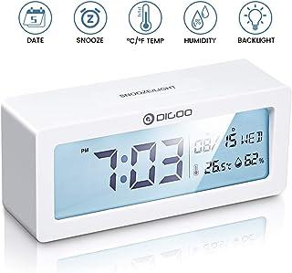 DIGOO Reloj Despertador Digital, LCD Reloj Alarma con Pilas con Monitor de Temperatura y Humedad, Calendario, función de repetición, Reloj de Escritorio del Dormitorio, Regalo para niños Blanco