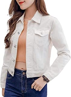 Womens Denim Jean Jacket Denim Jacket Coat with Chest Flap Pocketed