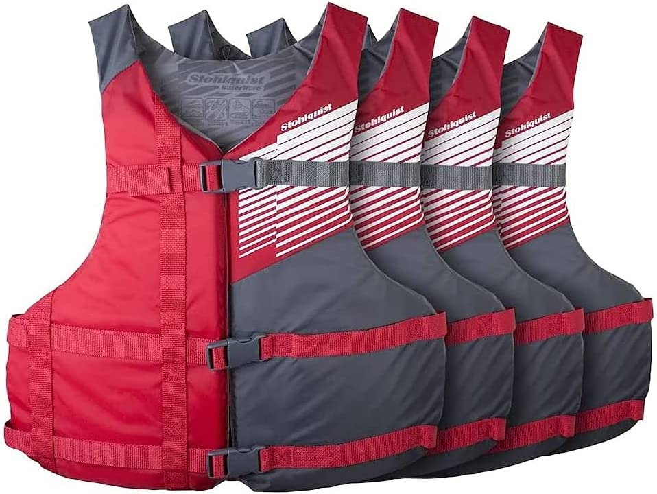 Stohlquist Fit Adult PFD Life Oklahoma City Mall Vest Red Universal Unise Max 90% OFF + - Gray