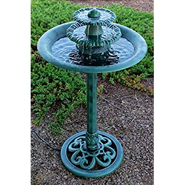 Alpine TEC106 Tiered Classic Pedestal Garden Water Fountain and Birdbath, Dark Verdigris Green Finish, 35 Inch Tall