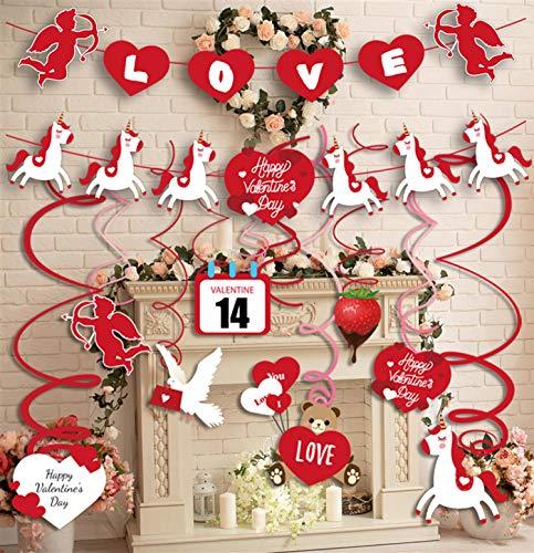 Sayala 30 Piezas Decoraciones de Día de San Valentín,Espirales de corazón para Decorar Colgando Suministros Favor de la Decoración de la Habitación de San Valentín