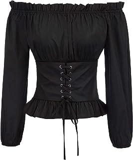 SCARLET DARKNESS Women's Off Shoulder Black Boho Renaissance Blouse Shirt Top