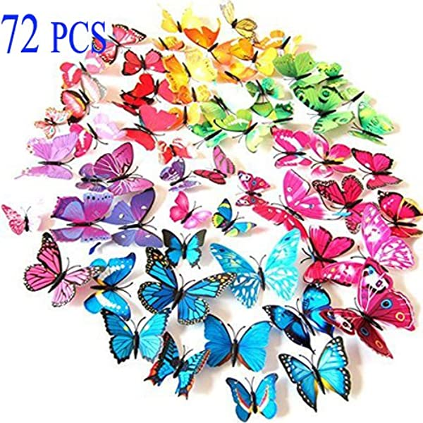 72PCS 3D Butterfly Wall Decor Stickers For Home Kitchen Nursery And Room Decorations 6 Colors And 4 Sizes Removable And Reusable Single Wing