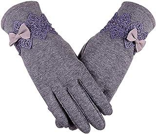 New Female Autumn Winter Non Inverted Velvet Cashmere Full Finger Warm Lace Gloves Women Cotton Touch Screen Gloves Touch Screen Gloves Lace Gloves Women