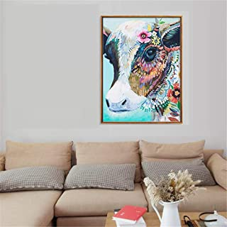 HEYL7 Colorful Cow Canvas Print Art Canvas Painting Wall Poster Oil Paiting On Canvas Art Wall Prints (Unframed) Photo Pictures Wall Décor Home Décor for Living Room,16x24 Inch