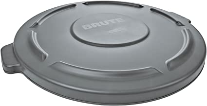 """Round Brute Lid for 10gal Waste Containers, 16"""" Dia, Gray"""